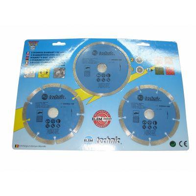 Lot de 3 disques diamant 115 mm