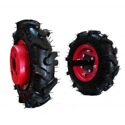 Jeu de roues avec pneus agraires et masses pour motoculteur